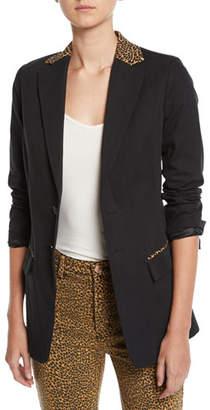 Current/Elliott The Calla Cotton-Wool Blazer with Leopard-Print Trim