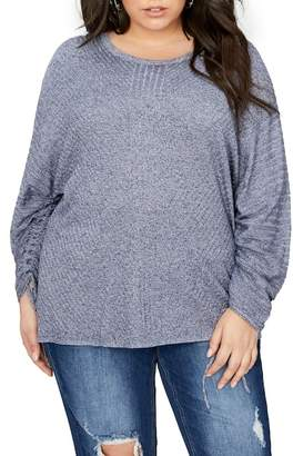 Addition Elle Love & Legend Drawcord Sleeve Sweater (Plus Size)