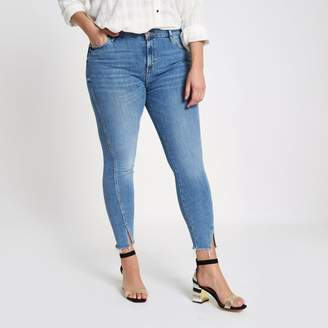River Island Womens Plus mid Blue Amelie twisted hem skinny jeans