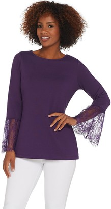6423f0660e4e47 Belle By Kim Gravel Belle by Kim Gravel Lace Trim Bell Sleeve Top
