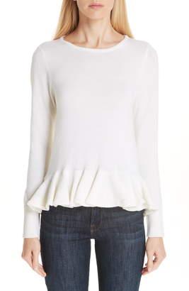 Co Ruffle Peplum Wool Sweater