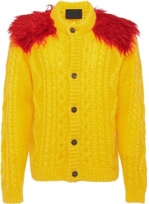 Prada feather shoulder knitted cardigan