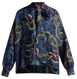 F.R.S – For Restless Sleepers F.r.s For Restless Sleepers - Alethia Snake Print Silk Shirt - Womens - Blue Print
