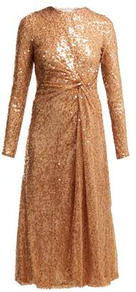 Galvan - Pinwheel Sequinned Midi Dress - Womens - Nude