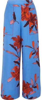 Diane von Furstenberg Floral-print Twill Wide-leg Pants - Blue