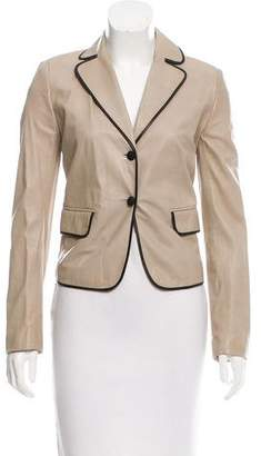Valentino Leather Contrast-Trimmed Blazer