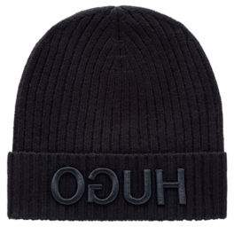 HUGO Wool beanie hat with 3D reverse-logo embroidery