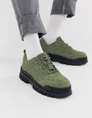 CAT Footwear CAT Exalt chunky sole sneakers in khaki suede
