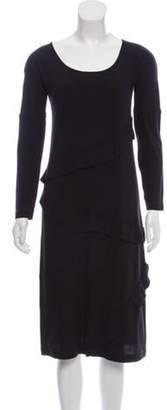 Sonia Rykiel Long Sleeve Ruffle-Trimmed Dress w/ Tags Black Long Sleeve Ruffle-Trimmed Dress w/ Tags