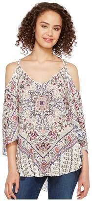 Hale Bob Beach Belle Rayon Dot Woven Cold Shoulder Top Women's Clothing