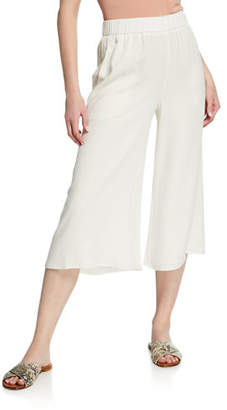 Eileen Fisher Wide-Leg Cropped Silk Crepe Pull-On Pants