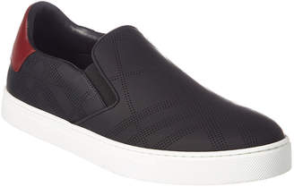 Burberry Copford Perforated Check Leather Slip-On Trainer