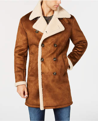 GUESS Men's Faux-Shearling Overcoat