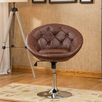 Roundhill Furniture Roundhill Noas Contemporary Round Tufted Back Tilt Swiviel Accent Chair, Multiple Colors Available