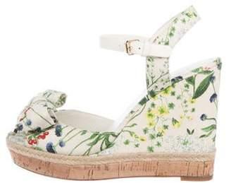 467bd2b935 Tory Burch Floral Canvas Wedge Sandals