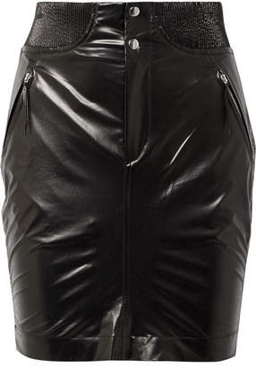 Isabel Marant Amel Ribbed Knit-trimmed Coated-silk Mini Skirt - Black