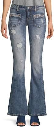 Miss Me Women's Glitz Embellished Flared Jeans - Blue, Size 26 (2-4)