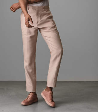 Reiss COSMOPOLITAN T SLIM FIT LINEN BLEND TROUSERS Soft Pink