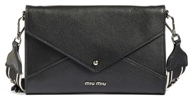 Miu Miu Miu Miu Madras Convertible Leather Clutch With Beaded Guitar Strap - Black