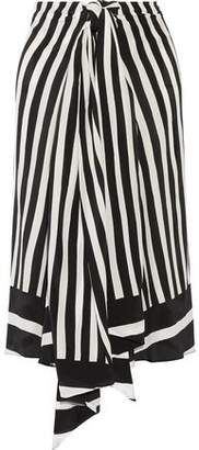 Tome Tie-Front Striped Silk-Georgette Midi Skirt