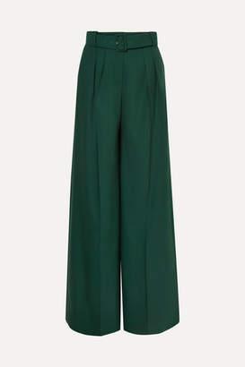 Erdem Ilaria Belted Pleated Grain De Poudre Wool-blend Wide-leg Pants - Green