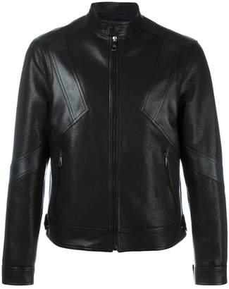 Neil Barrett geometric panelled leather jacket