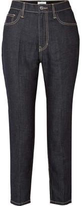 Current/Elliott The Vintage Cropped High-rise Slim-leg Jeans - Dark denim