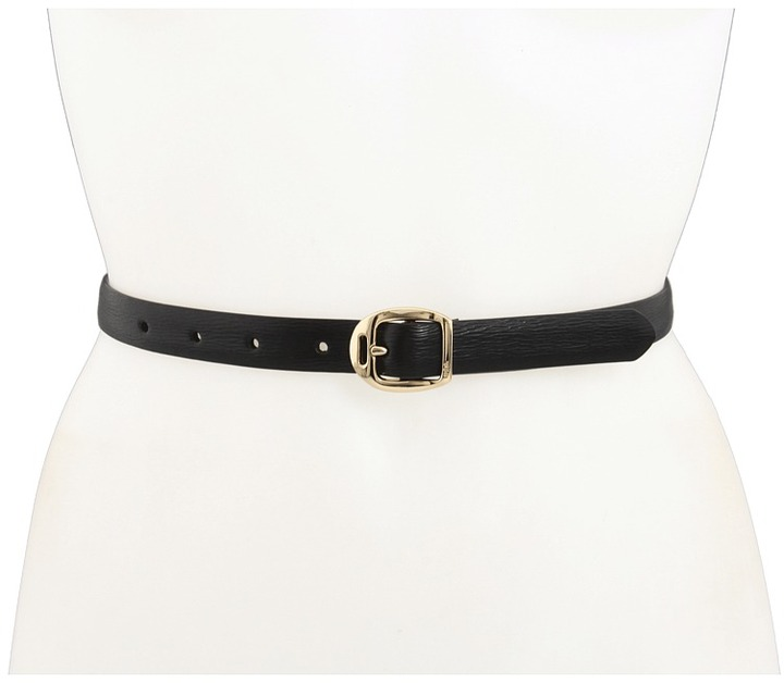 LAUREN Ralph Lauren - Saffiano Belt with Martingale Buckle (Black) - Apparel