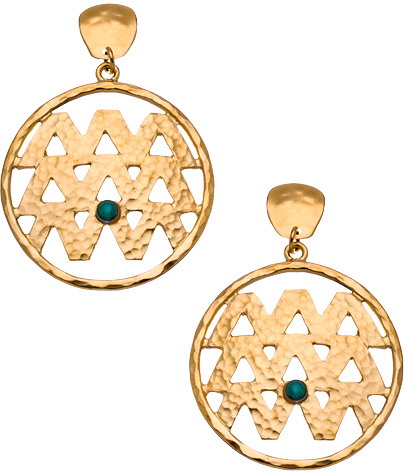 Evelyn Knight Gold and Malachite Hammered M Drop Earrings