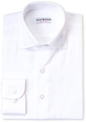 Isaac Mizrahi Toddler Boys) White Shadow Stripe Dress Shirt