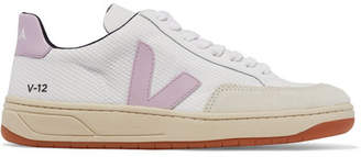Veja V-12 Mesh, Leather And Nubuck Sneakers - White