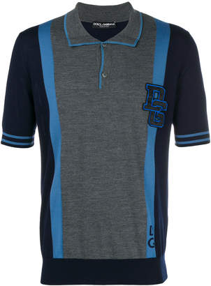 Dolce & Gabbana colour block polo shirt with logo patch