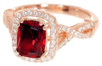 LeVian Suzy Jewelry 14K Rose Gold Plated Sterling Silver Created Ruby & White CZ Engagement Ring