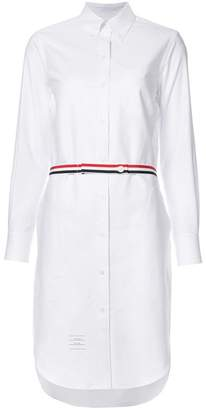 Thom Browne Above Knee A-Line Shirtdress With Side Tabs & Engineered Stripe In White Oxford