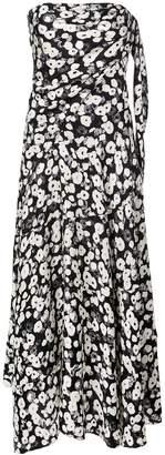 Derek Lam Strapless Knotted Poppy Print Silk Jacquard Handkerchief Dress