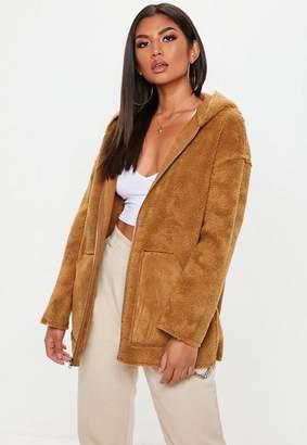 Missguided Tan Reversible Zip Through Borg Teddy Jacket