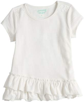 Girls 4-10 Jumping Beans Ruffled Short Sleeve Solid Tee