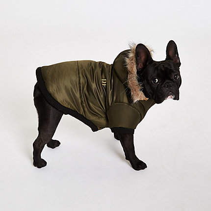 Womens Khaki dog hooded puffer jacket