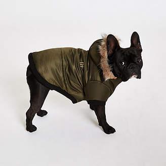 River Island Womens RI Dog Khaki dog hooded puffer jacket
