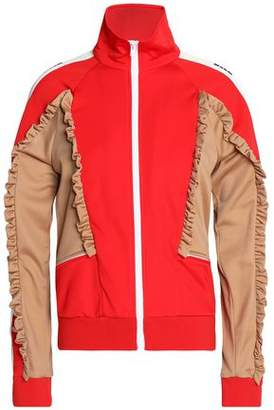 MSGM Ruffle-Trimmed Color-Block Shell Jacket