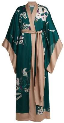 Carine Gilson Floral Print Silk Satin Kimono Robe - Womens - Green Print