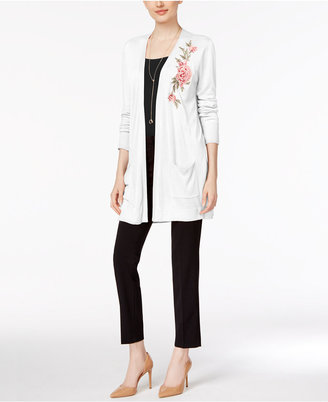 Joseph A Floral-Embroidered Duster Cardigan $70 thestylecure.com