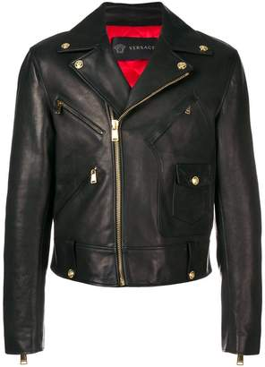 Versace calf leather biker jacket