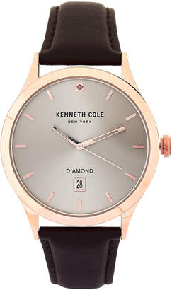 Kenneth Cole New York KC15174001 Rose Gold-Tone & Leather Watch