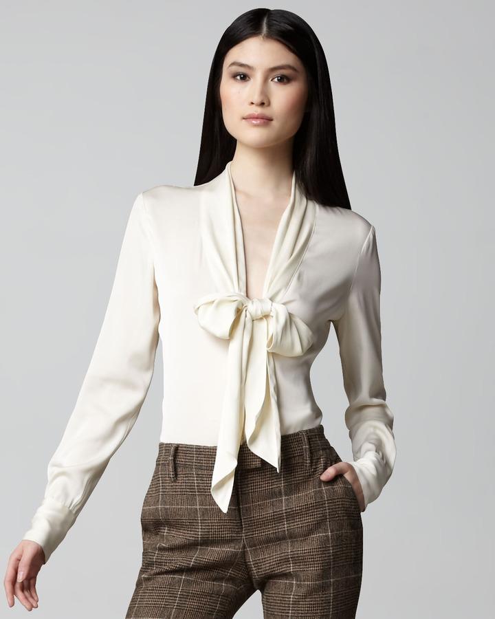 Rachel Zoe Tie-Neck Plunge Blouse, Cream