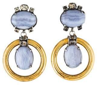 Iradj Moini Blue Lace Agate & Rock Crystal Quartz Drop Earrings