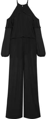 MICHAEL Michael Kors - Cold-shoulder Ruffle-trimmed Chiffon Jumpsuit - Black $165 thestylecure.com