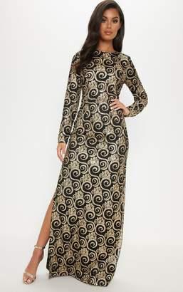 PrettyLittleThing Black Glitter Long Sleeve Maxi Dress