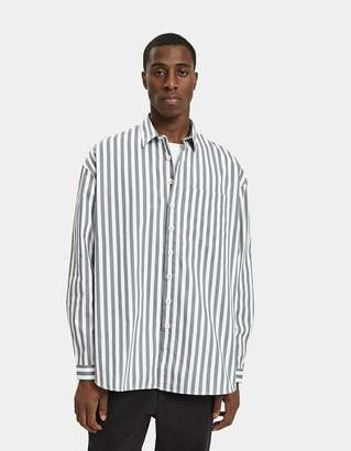 Sunnei Overshirt with Pocket in Grey Stripes