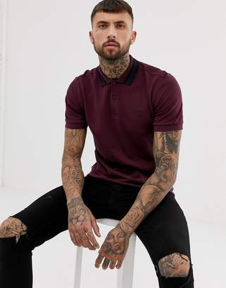 Fred Perry bold tipped pique polo in burgundy